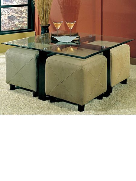 Glass Coffee Table With Ottoman Underneath With Images Square