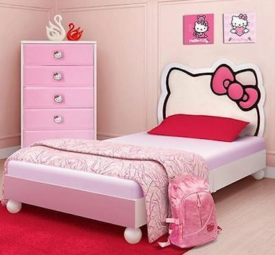 Hello Kitty Twin Bed Wood Upholstered White Pink Girls Youth