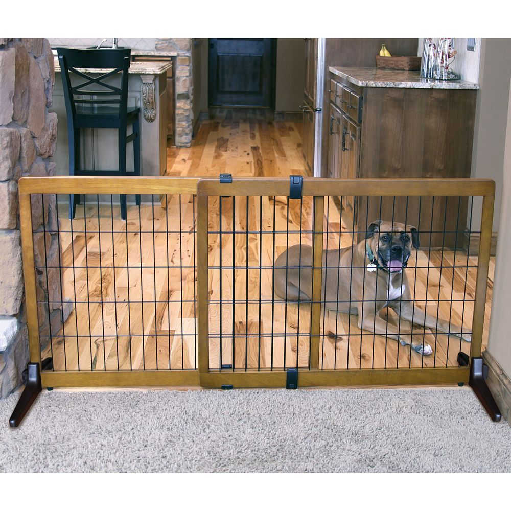 Carlson pet extra tall wood free standing pet gate for Puerta para perros