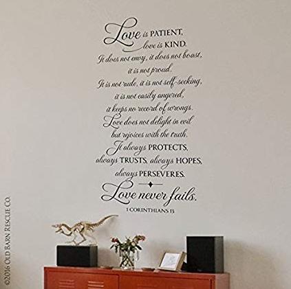 Amazon Com Love Is Patient Kind 1 Corinthians 13 Wall Art Love Is Patient Christian Wall Decals Wall Decals For Bedroom