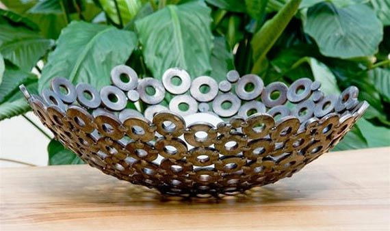 Decorative Scrap Metal : Decorative bowl made from washers scrap metal now if