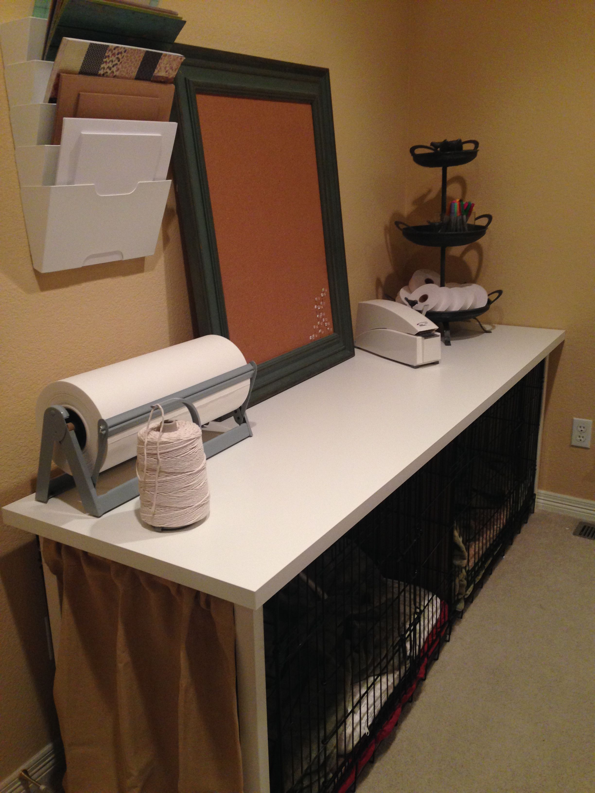 Ikea Desk Top And Legs Over 2 Dog Crates Makes A Great Crafting Table I Added Curtain On Pressure Rod At The Exposed End Linnmon 802 511 41