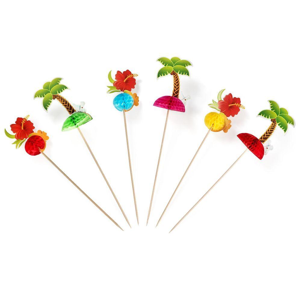24 Pack Hawaiian Luau Cocktail Picks Tree & Tropical Flowers For Hawaiian Events #HauteSoiree