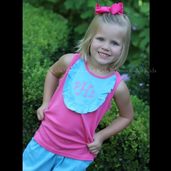 7/29/2013  Hot Pink and Turquoise Knit Bib Shorts Set