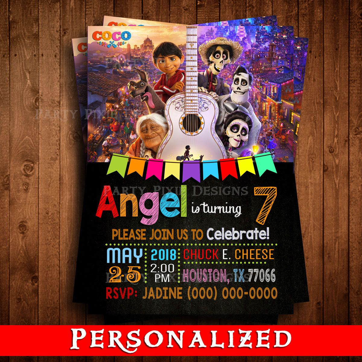 DISNEY COCO Printed Personalized Invitations Coco Movie Birthday