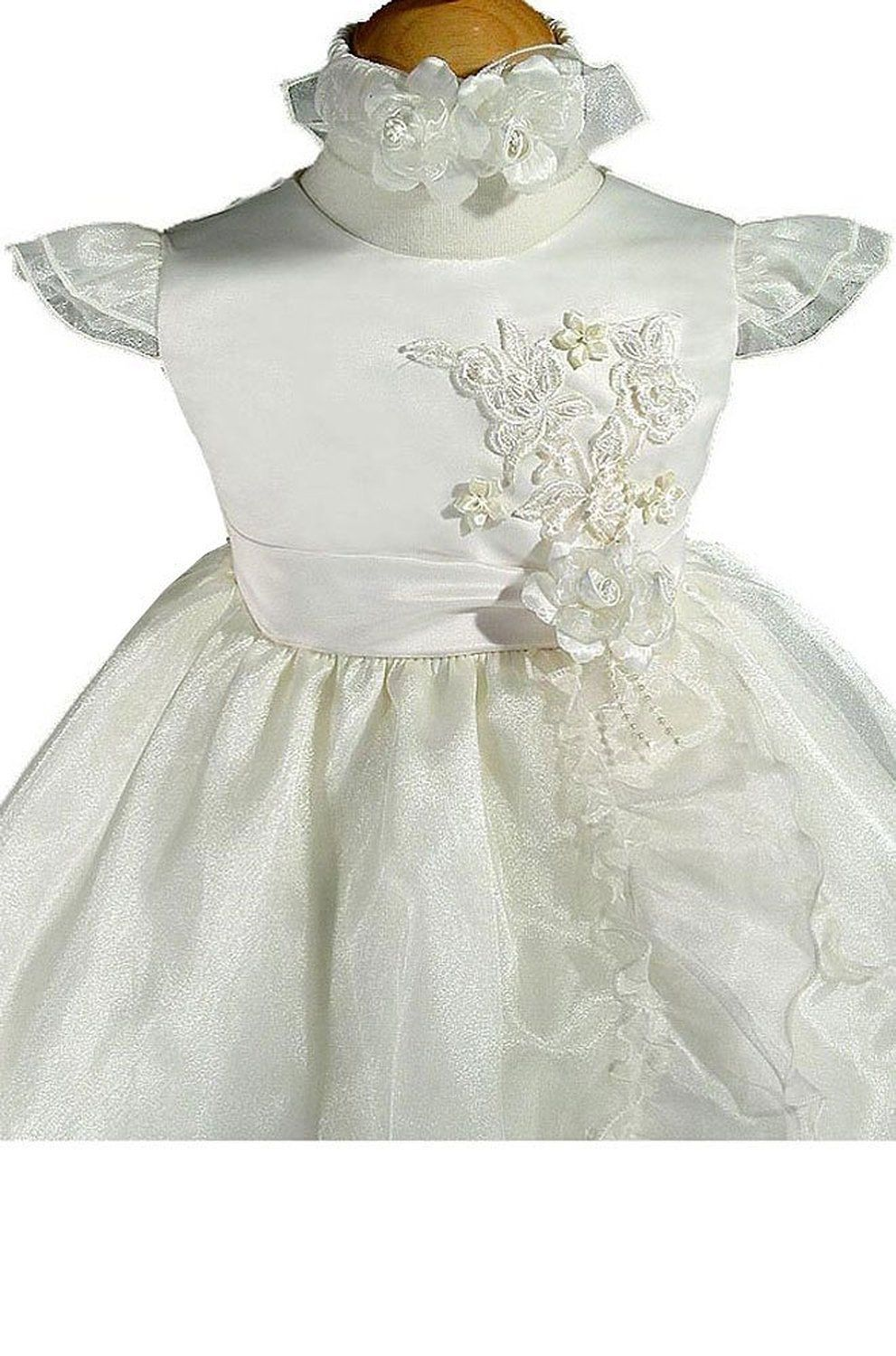 Girls wedding dress  KID Collection Ivory Infant Flower Girl Wedding Dress Size Xl