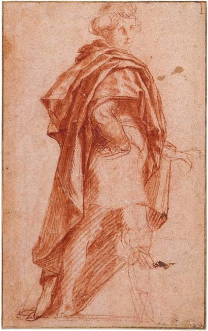 Andrea del Sarto (1486–1530)  Standing Man Turned to the Right, 1528  Red chalk, red wash, on pink toned paper