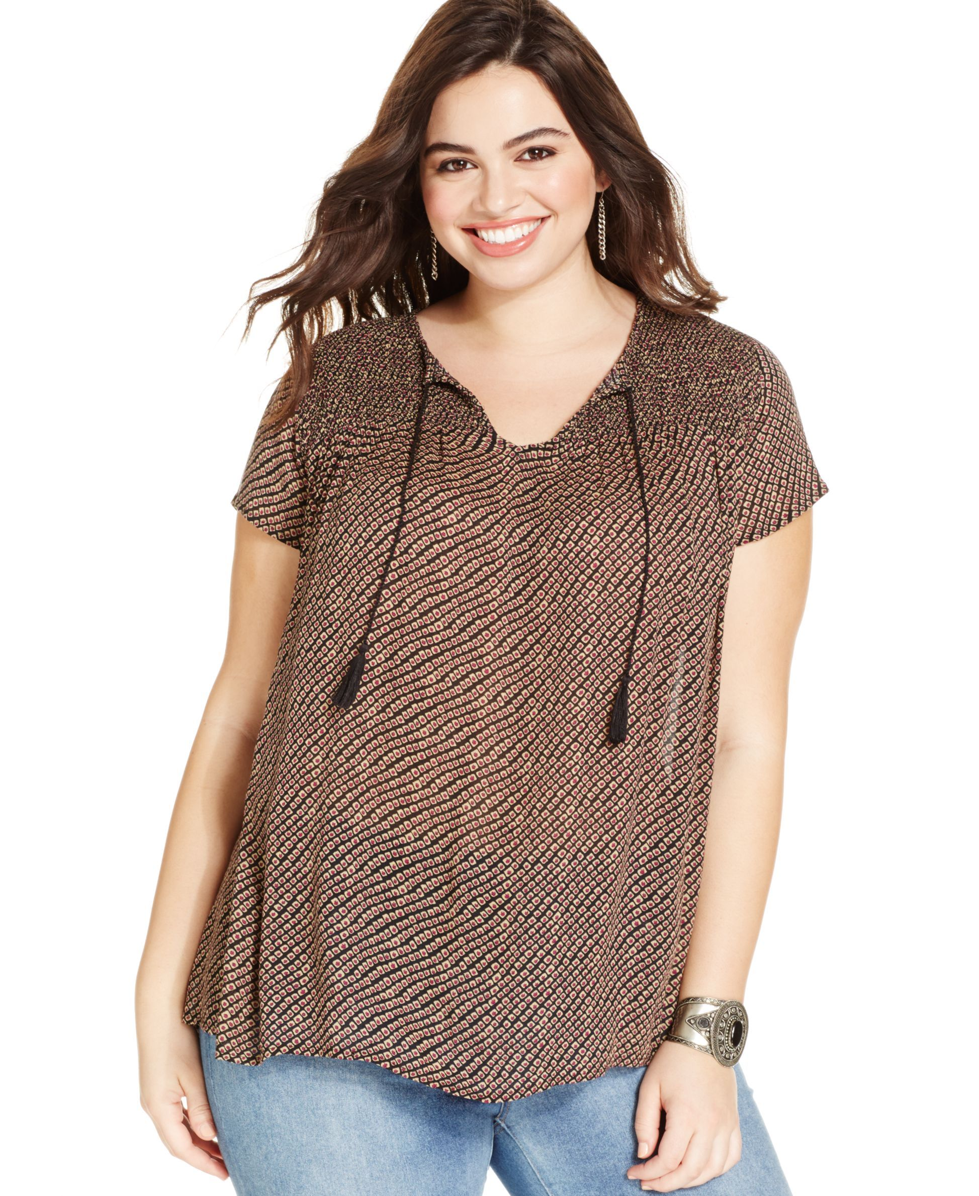 a6a4fd24d27 Lucky Brand Plus Size Geo-Stripe Peasant Top