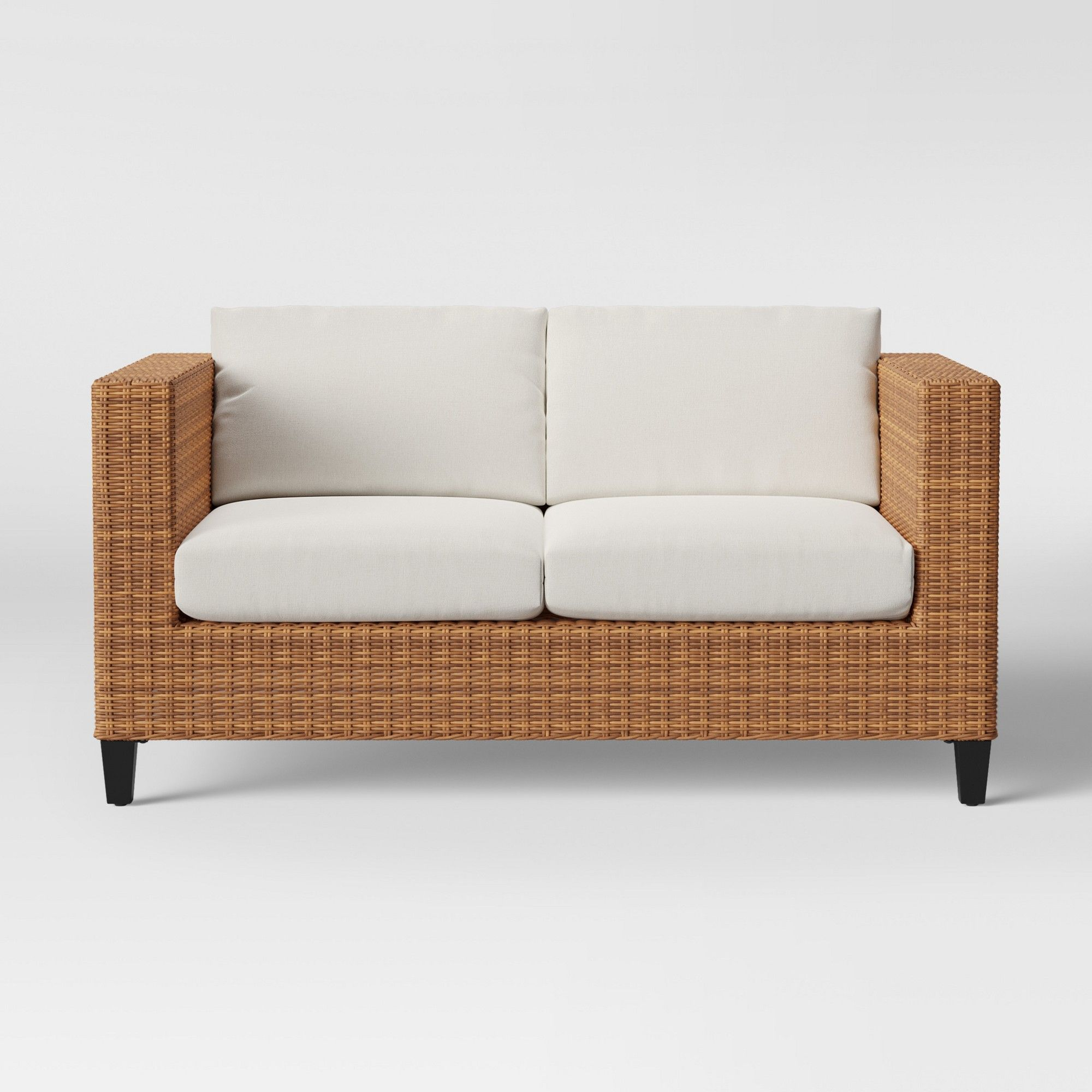 Swell Fullerton Steel Wicker Patio Loveseat Linen Project 62 In Theyellowbook Wood Chair Design Ideas Theyellowbookinfo
