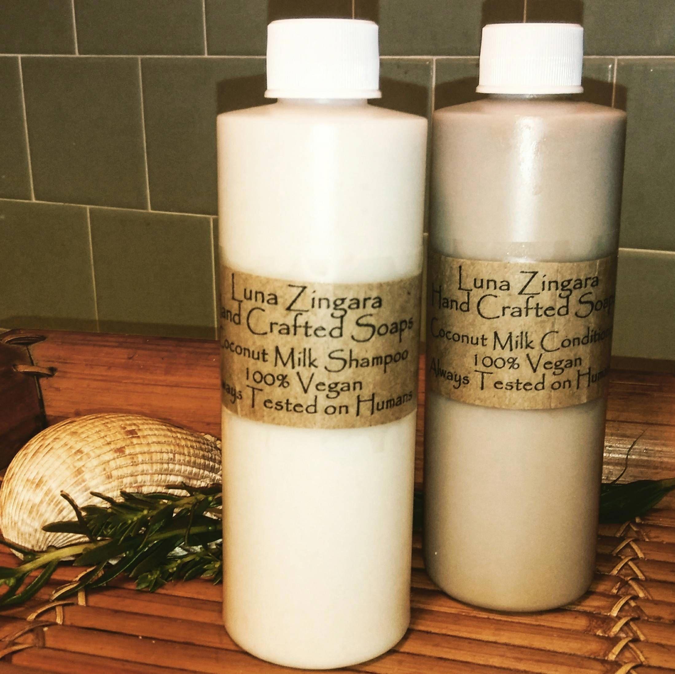 Natural Shampoo and Conditioner. Cruelty free, coconut