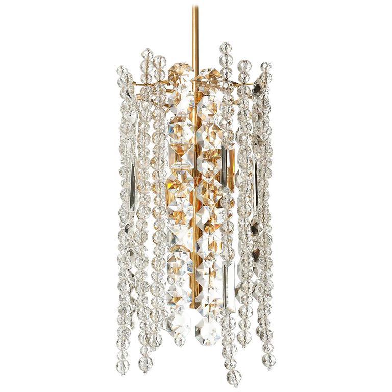 Bakalowits chandelier pendant light gilt brass crystal glass 1960s