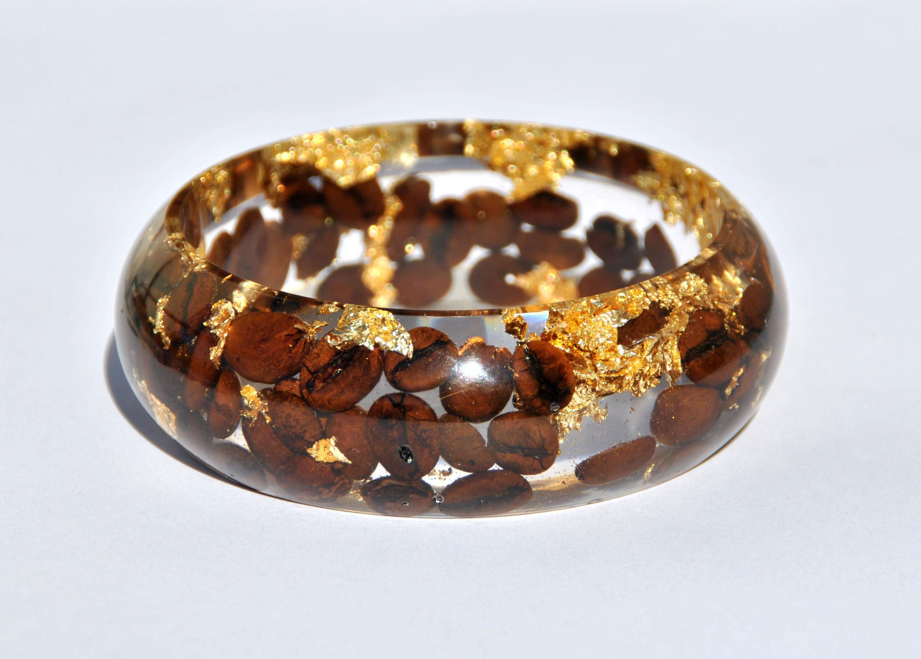 Resin Bracelet, with coffee beans and golden sheets, inclusion, bangle, brown and gold di Minervastyle su Etsy