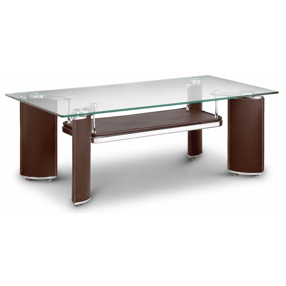 Glass Top Coffee Table Rectangular Brown Faux Leather Base Living Room Furniture Glass Coffee Table Coffee Table Glass Top Coffee Table [ 1000 x 1000 Pixel ]