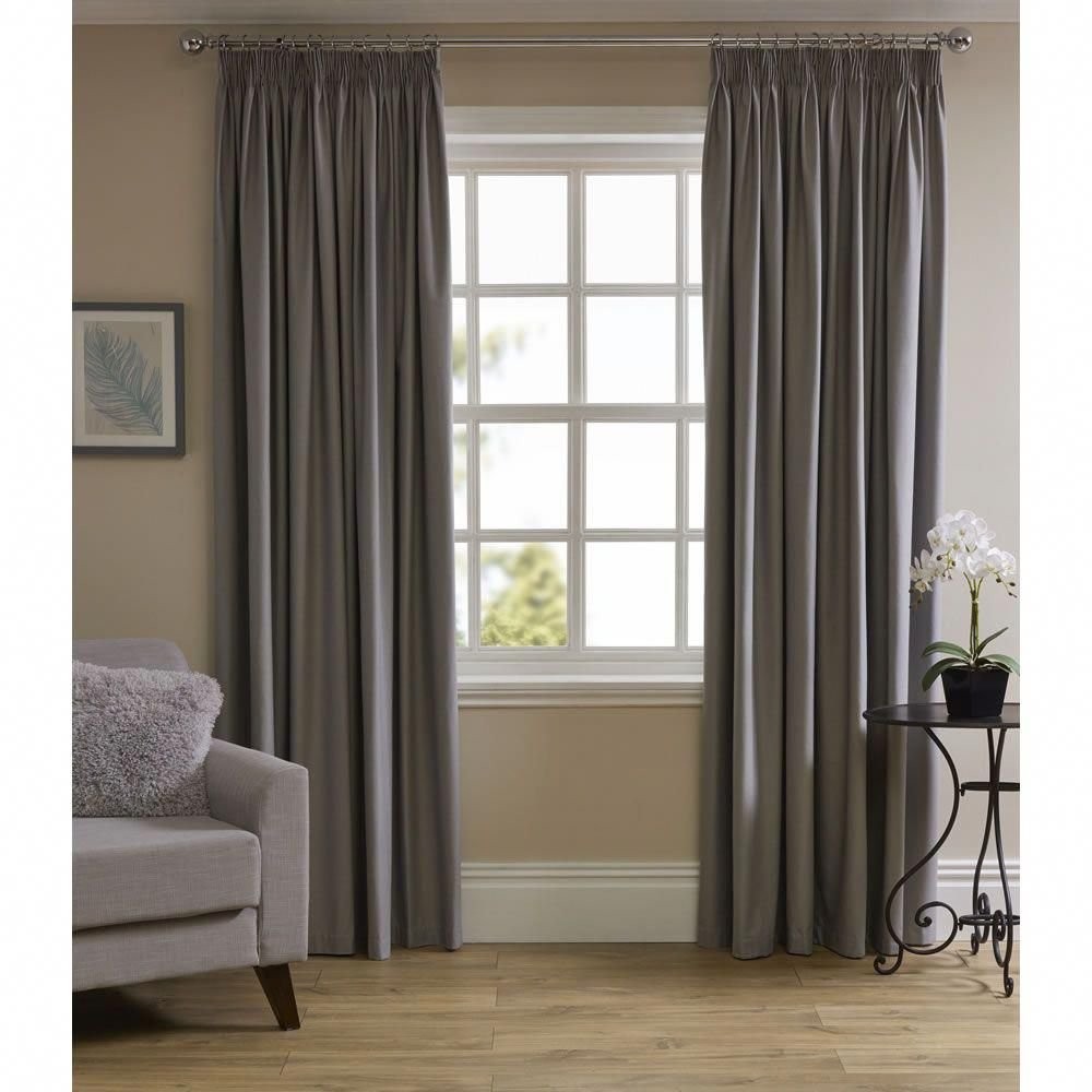 Silver Thermal Blackout Pencil Pleat Curtains 167 W X