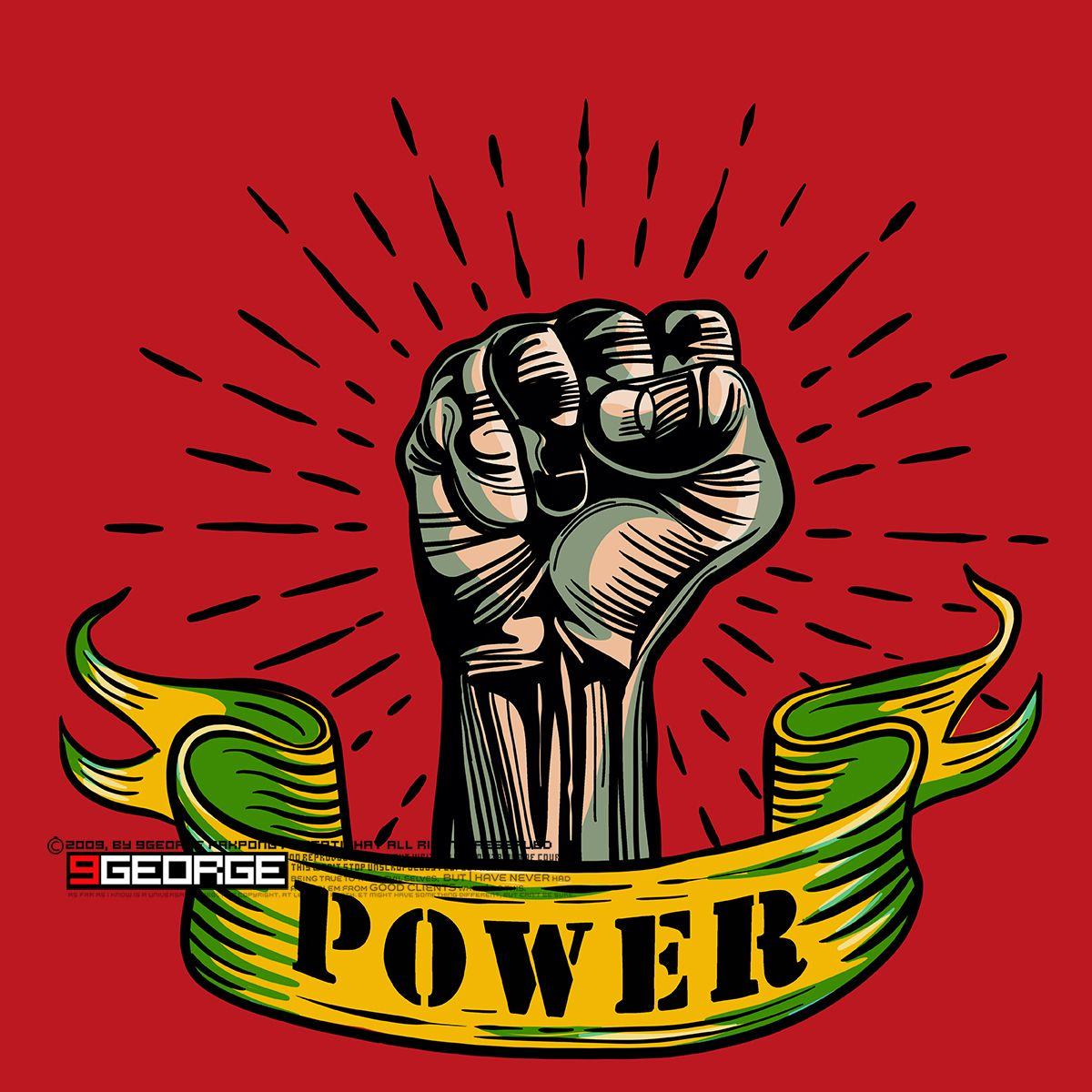 Freehand vector drawing Fist male hand, proletarian