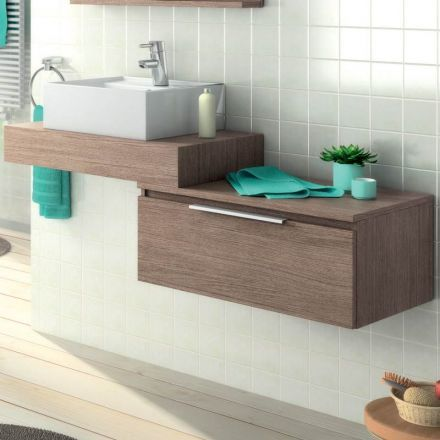 Plan vasque en bois pour salle de bain mod le suspendu accompagn d 39 un a - Vente privee mobilier salle de bain ...