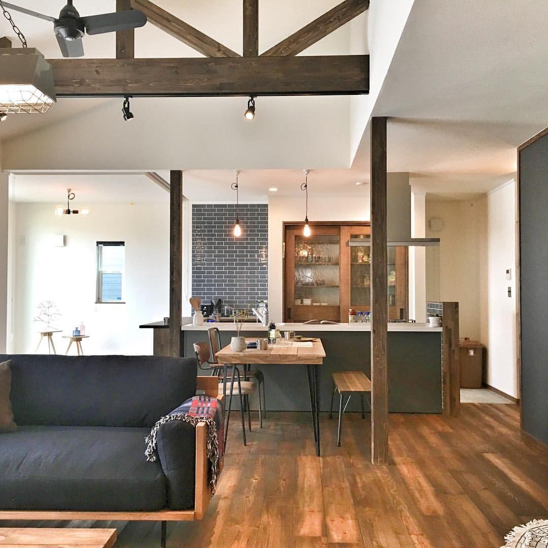 ファーマーズハウスっぽい平屋平屋ならではの勾配天井が魅力的