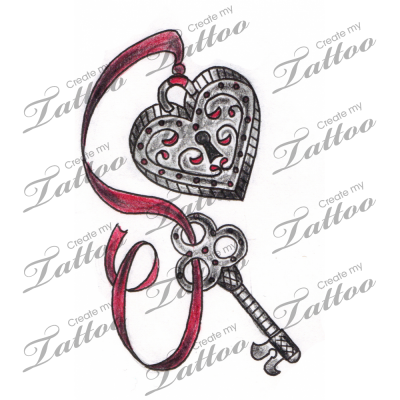 Marketplace Tattoo Vintage Heart Locket and Key Tattoo