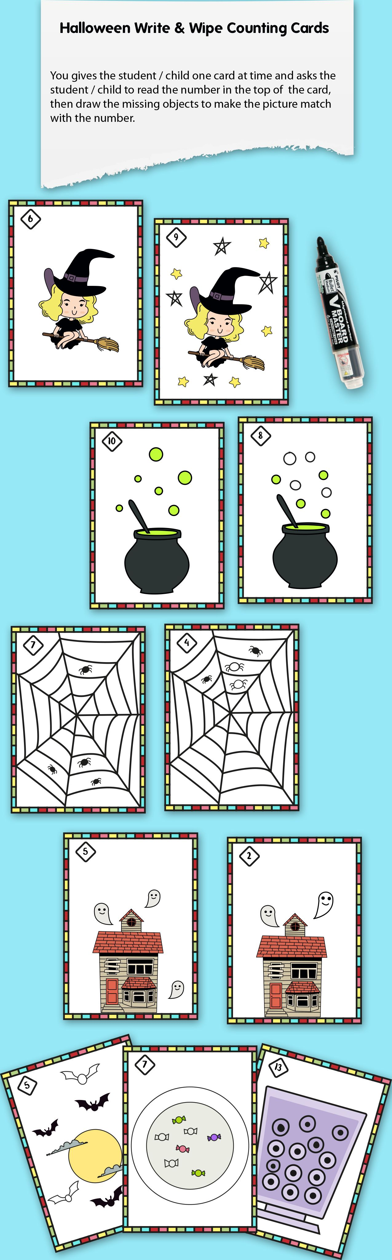 Halloween Write And Wipe Counting Cards Count For 1 To