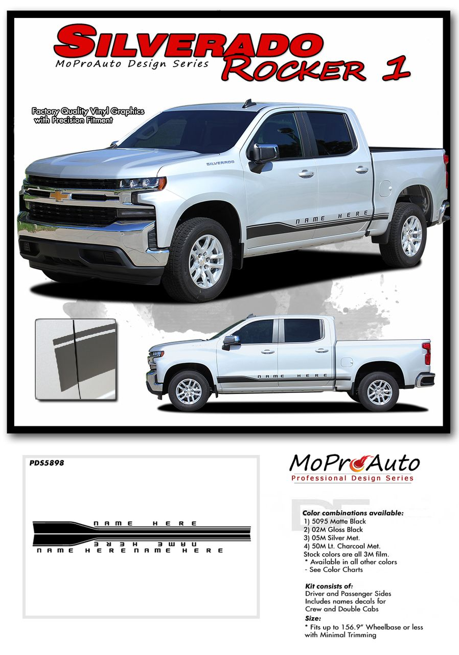 Silverado Rocker 1 Chevy Silverado Stripes Lower Rocker Decal Vinyl Graphic Body Panel Door Accent Kit Fits 2019 2020