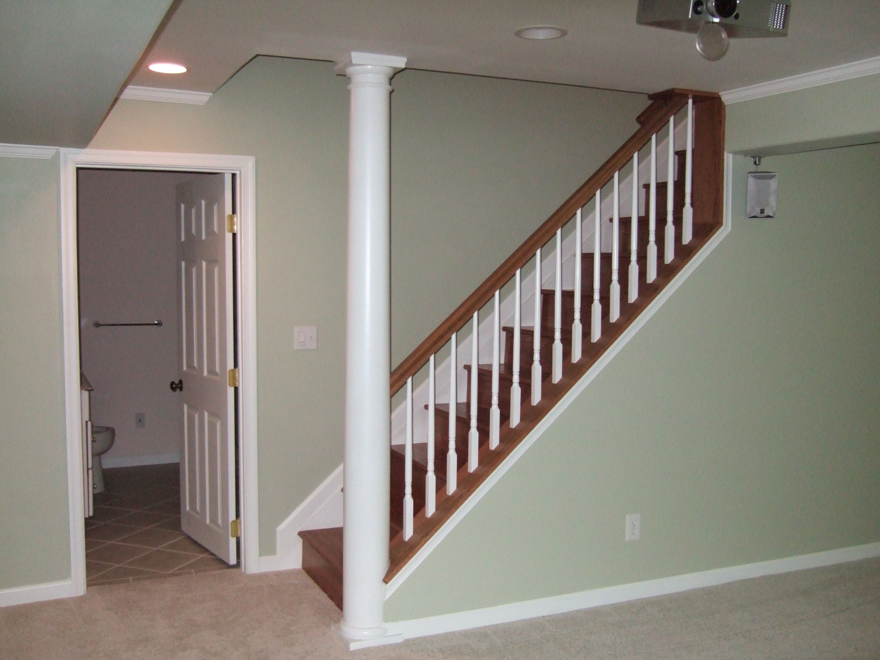 Bookcase Stair Railing Basement Stairs Inspiration This Is How We Are Redoing