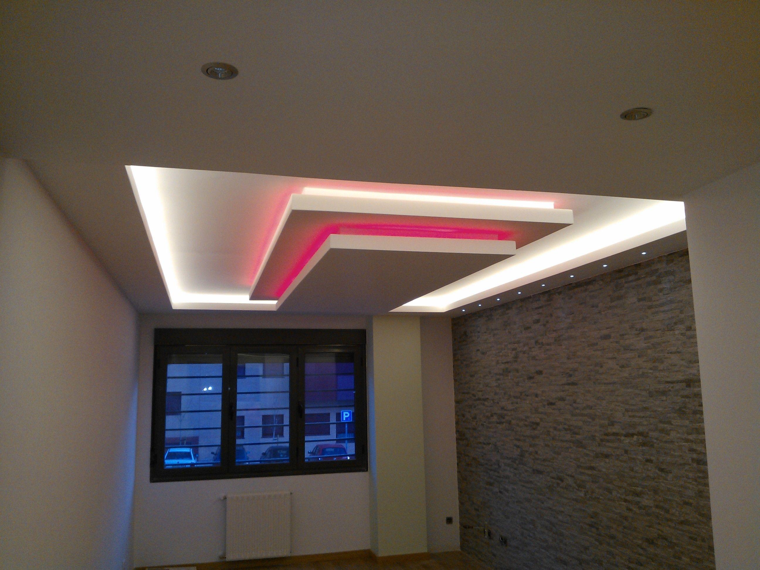 falso techo niveles color rosa | रोशनी | Pinterest | Falso ...