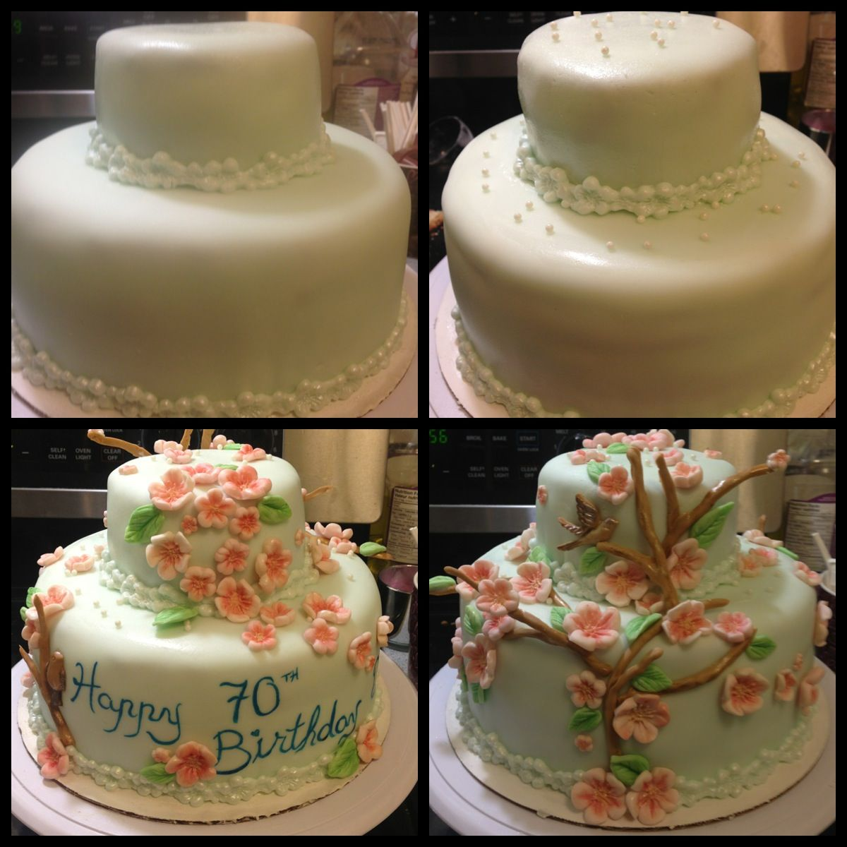 Cherry Blossom Birthday Cake. Tinted Fondant base and gum paste ...