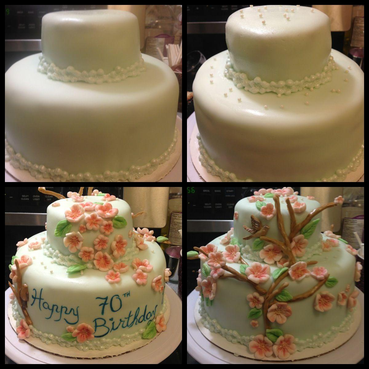 Cherry Blossom Birthday Cake. Tinted Fondant base and gum paste ...