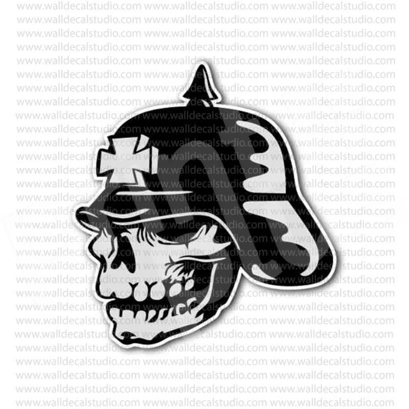 Skull german soldier spiked helmet sticker