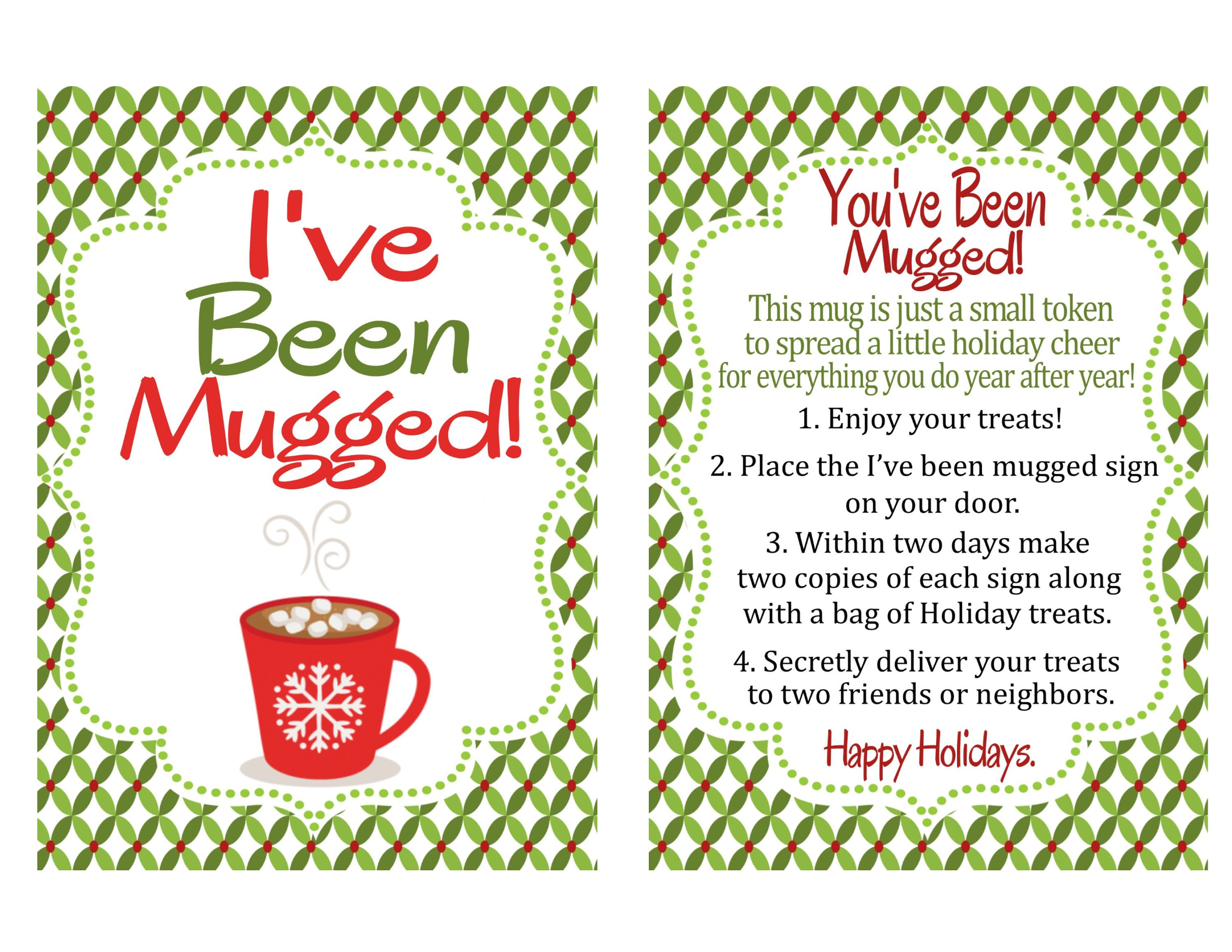 You Ve Been Mugged Printable Instructions Sign And Treat Bag Tag I Ve Been Mugged You Ve Been Mugged Printable Holiday Printables You Ve Been Elfed