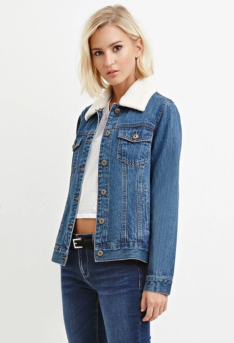 Faux Shearling Denim Jacket Jacket Outfit Women Denim Fashion Denim Women [ 1101 x 750 Pixel ]