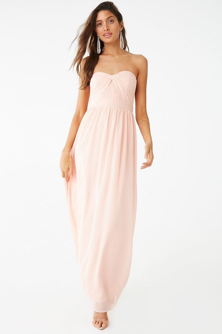 53279a4eed6 Forever 21 Strapless Chiffon Gown blush pink bridesmaid dress affordable  pink gown