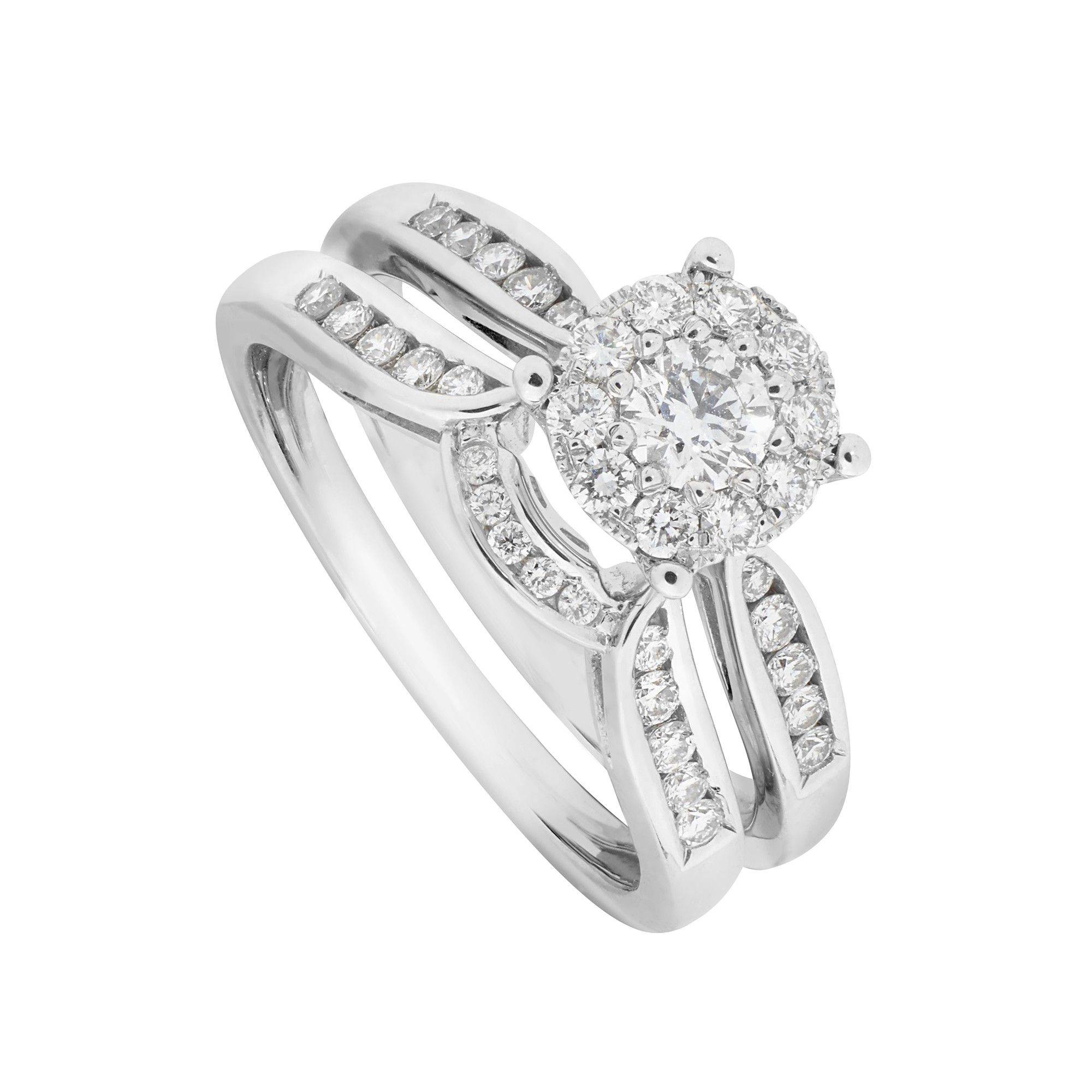9ct White Gold 050 Carat Diamond Starburst Bridal Set