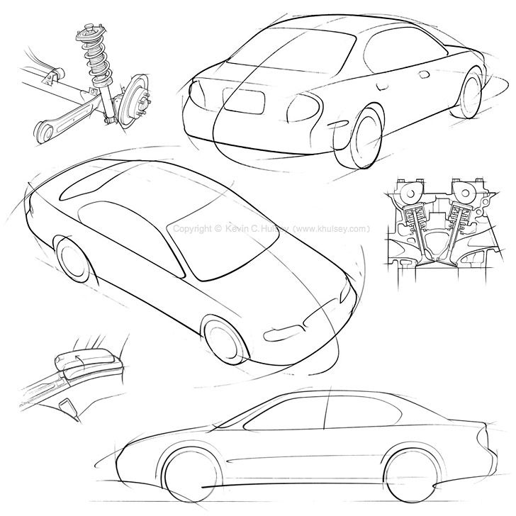 Car Concept Rough Sketch Line Drawings Of Nissan Maxima