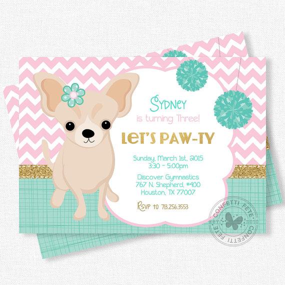 Puppy Birthday Invitation Puppy Pawty Girl Birthday Party Dog