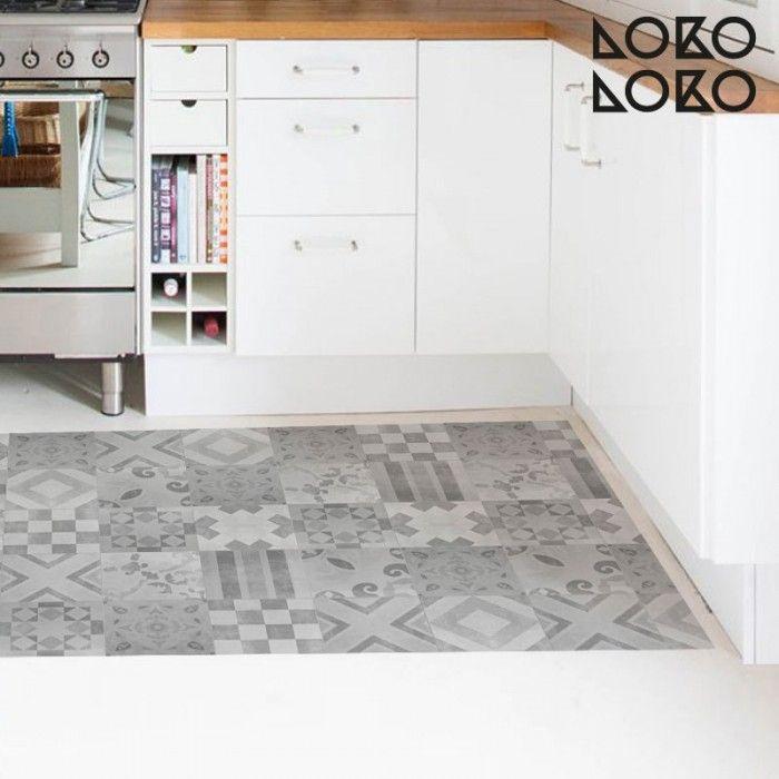 Patr n vintage 5 blanco y negro suelos vinilos para for Vinilo adhesivo suelo bano