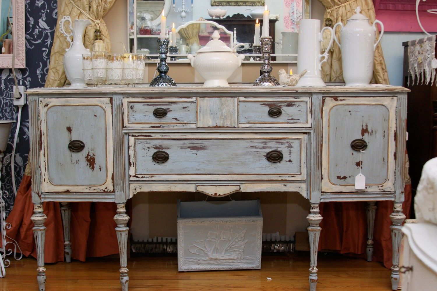 Special Listing For Yahris Antique Mahogany Buffet Server In Swedish Blue  Distressed Beach Cottage Coastal Chic