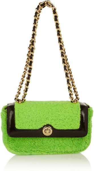 77caa22c58a19 Moschino Cheap & Chic Dolly Shearling Shoulder Bag in Green - Lyst ...