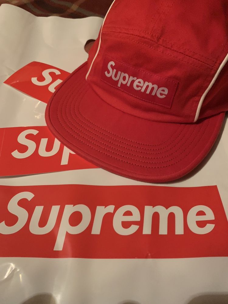 4994fd632b6 Supreme Hat Piping Camp Cap Red SOLD OUT FW18 Week 6 Drop Authentic   fashion  clothing  shoes  accessories  mensaccessories  hats (ebay link)