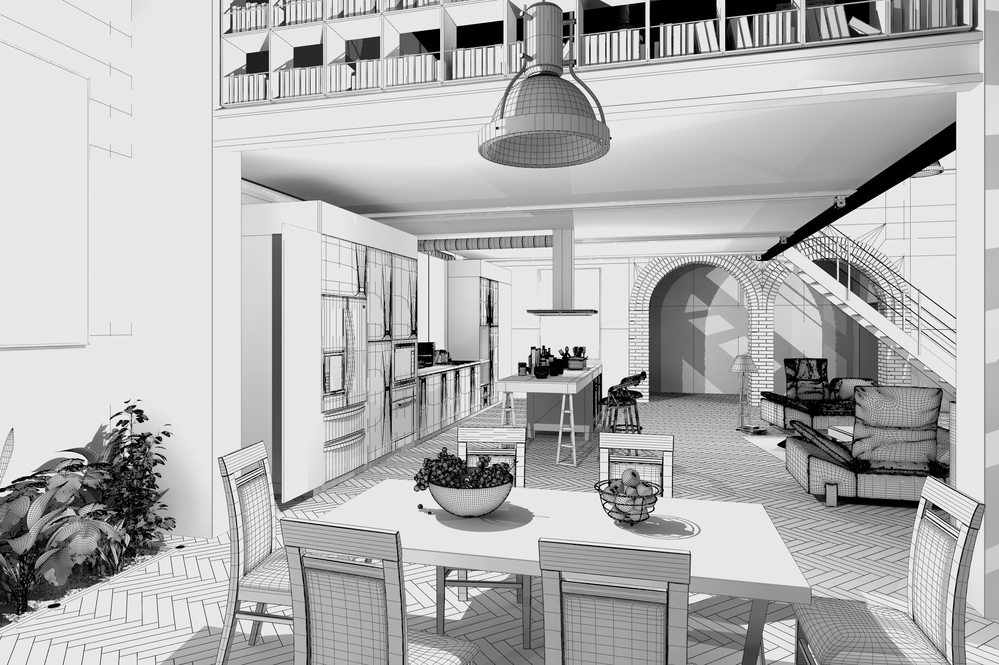Szkic Apartament W Stylu Loft W Tle Widoczna Biala Drewniana