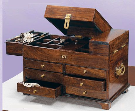 Abundant Wood Teak Jewelry Box with Secret Hiding Compartments