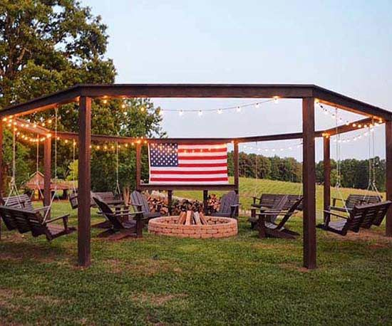 Stylish And Creative Fire Pit Seating Ideas Fire Pit Pergola Backyard Pergola Backyard Fire