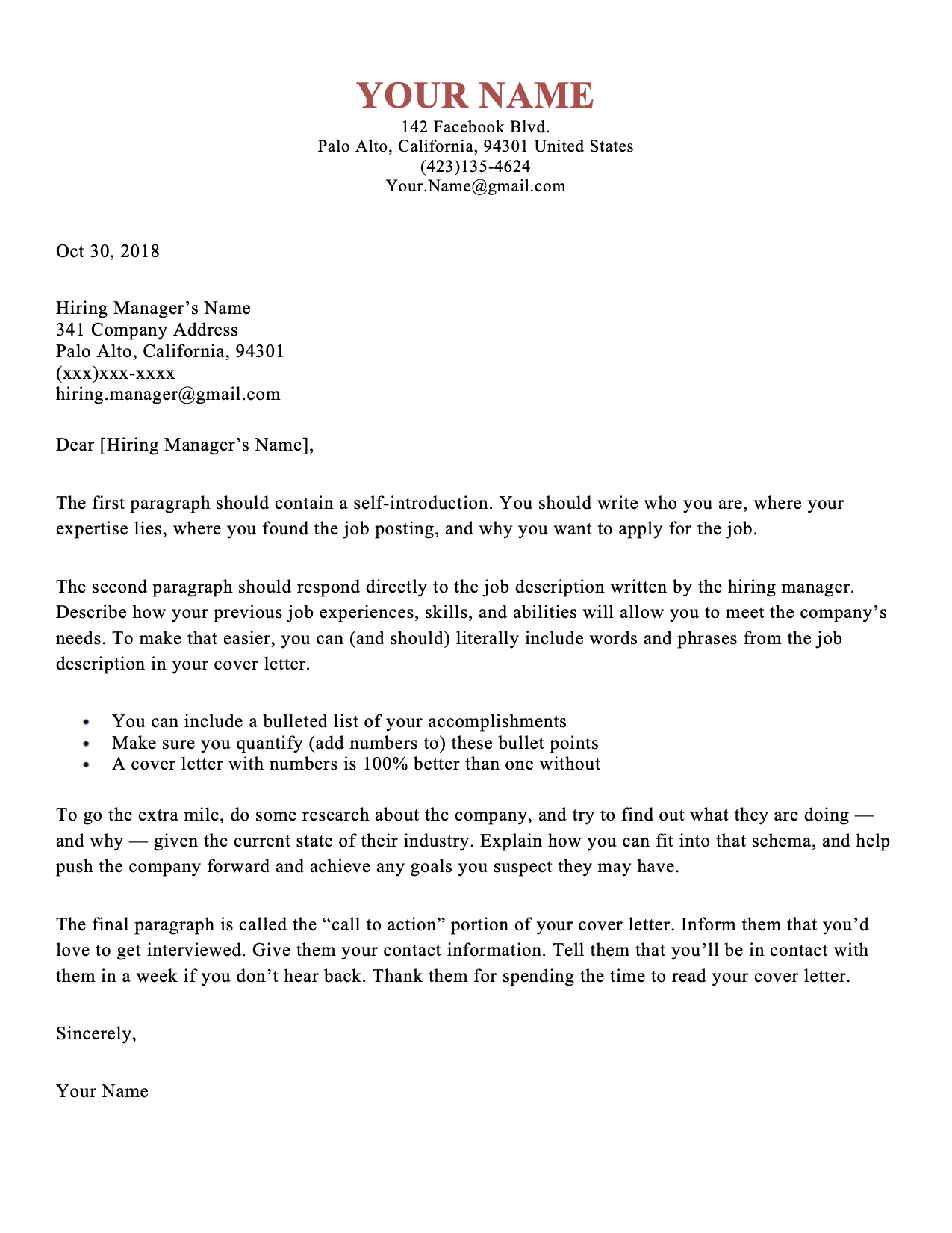 Simple Cover Letter Templates Cover letter template