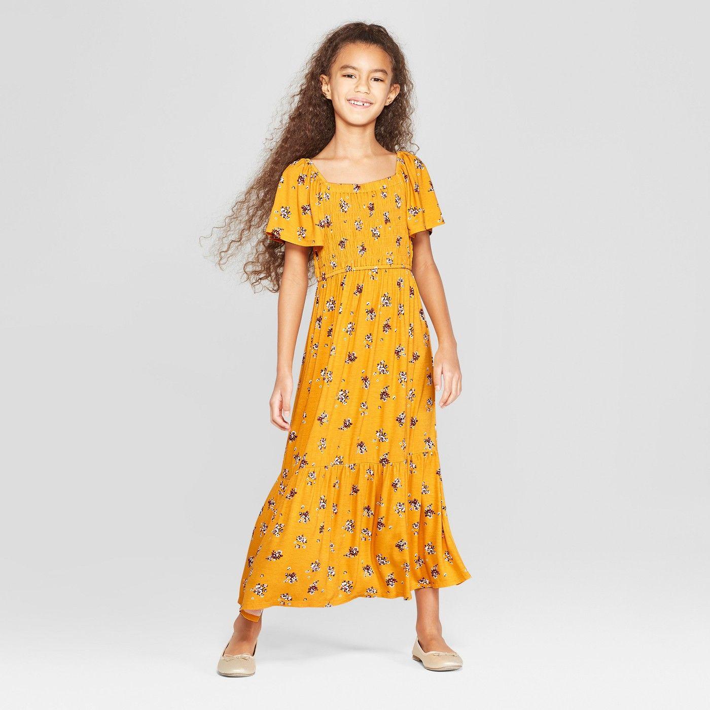 Girls smocked maxi dress art class yellow target