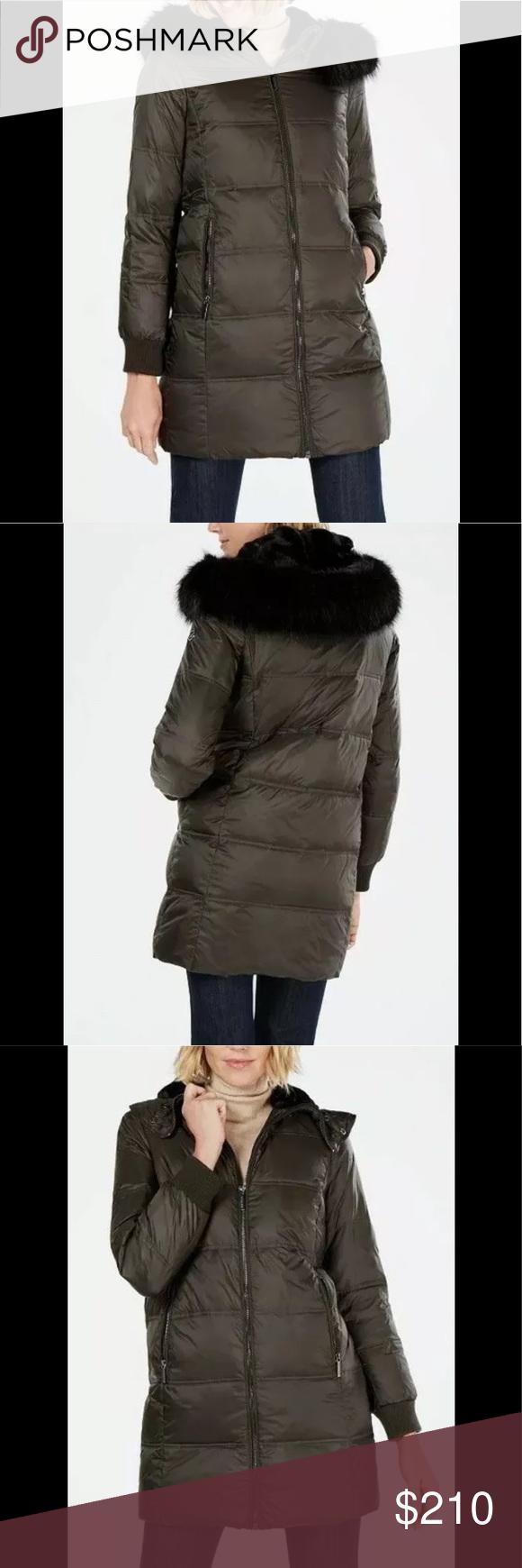 Michael Kors Hooded Puffer Jacket Dark Olive M Faux Fur Hood Michael Kors Jackets Michael Kors [ 1740 x 580 Pixel ]