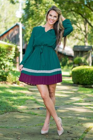 Play Me A Song Dress, Forest Green