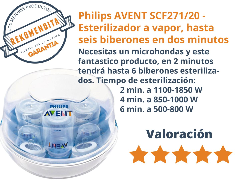 que esteriliza hasta seis biberones en dos minutos Philips AVENT SCF271//20 Esterilizador a vapor para microondas