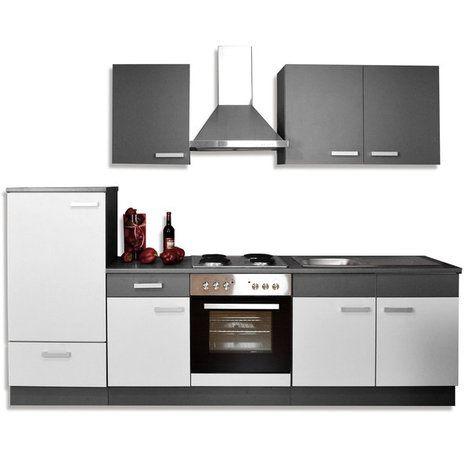 Küchenblock GRETA - hellgrau-graphit - 270 cm breit Möbel - küchenblock 270 cm