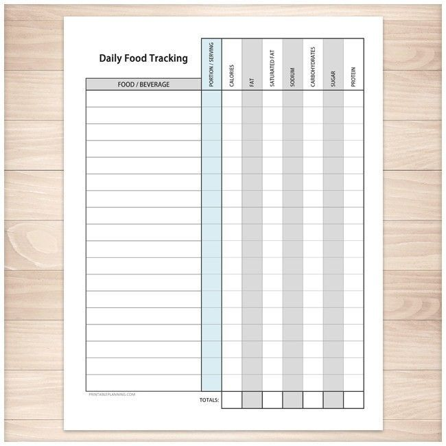 daily food content tracking sheet printable bullet journal