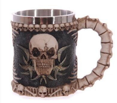 1pcs Stainless Steel Liner Drinking Skull Mug 3D Skull Horror Decor Cup for Halloween Party
